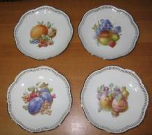 Schumann Pottery Porcelain Four Plate FRUIT Group