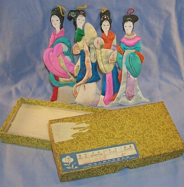 Four Chinese Paper / Cloth Dolls in Original Box - Misc.