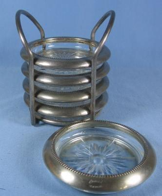 vintage Silver Plate and Crystal  COASTER Set
