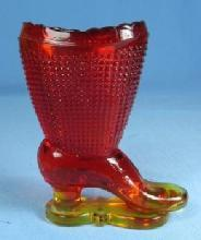 Amberina GLASS High Top High Heel Glass SHOE Toothpick Holder