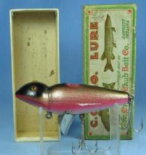 Vintage Creek Chub JIGGER Fishing Lure BLEEDING FROG Finish with Original Box - sporting