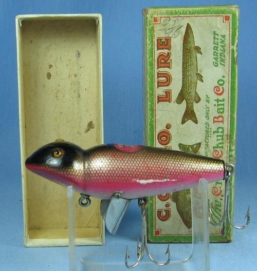 Vintage Creek Chub JIGGER Fishing Lure BLEEDING FROG Finish with Original Box - sporting