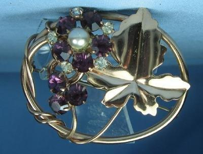 Jewelry  Amethyst and Rhinestone Copper Brooch - Vintage Estate Jewelry antique