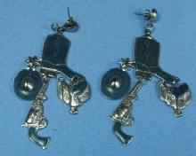 old Vintage Western Earrings - Enameled BOOT Cowboy HAT SADDLE & PISTOL  Costume Jewelry