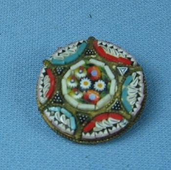 old Italian Mosaic Multi-Color Brooch Vintage Jewelry
