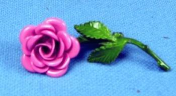 Enamel Pink ROSE Brooch - Vintage Costume Jewelry Pin