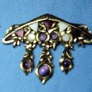 Jewelry antique Pearly Amethyst Dangle Brooch - Vintage Estate Jewelry