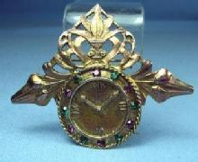 old Amethyst & Emerald CLOCK Brooch - Vintage Estate Jewelry