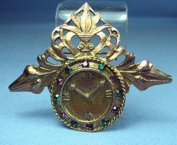 old Amethyst & Emerald CLOCK Brooch - Vintage Estate Jewelry