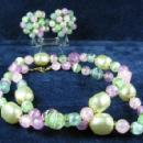 Jewelry  Lilac Seafoam Green Soft Pink Necklace & Clip Earring Group -