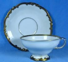Heinrich Selb GOLD Rim Cup and Saucer - German Porcelain