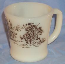 DAVY CROCKETT Milk Glass Mug