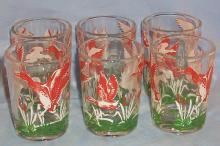 Six DUCK Juice Glasses - Sporting