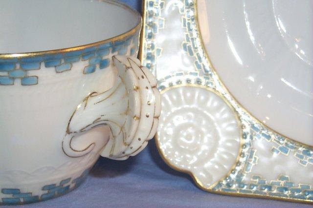 LIMOGES Shell Shaped Handle Porcelain Cup and Saucer Set