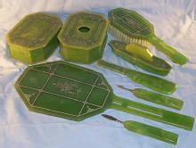 Eight Piece Art Deco Green CELLULOID Dresser Set - Misc.