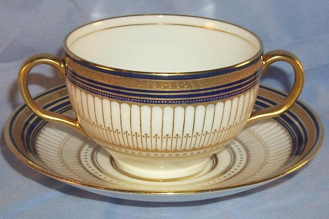 ROYAL DOULTON Porcelain  Cobalt/Gold TIFFANY & COMPANY Cream Soup Cup and Saucer