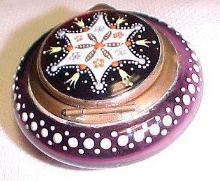 Amethyst Glass Patch Box Dresser Jar - Glass