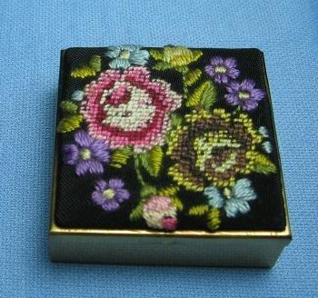 old Hand Painted PILL BOX Guilloche Style Enamel- Vintage Jewelry or Purse Accessory