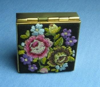 old Needlepoint PILL BOX  - Vintage Jewelry or Purse Accessory