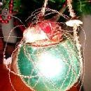 Wire Wrap BIRD on NEST Christmas Figural - Glass
