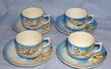 4 Occupied Japan Porcelain DRAGONWARE Demitasse Cup and Saucer Sets