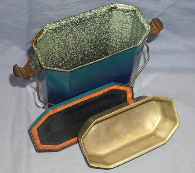 Turquoise French Graniteware Lunch Pail - Metalware