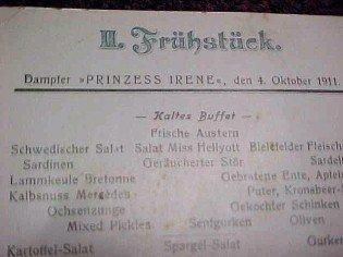 1911 Cruise Menu Norddeutscher Lloyd, Bremen - Advertising