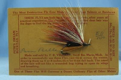 old Hand Tied Fly Fishing Lure - PARM BELLE - Trout Bass Salmon Rainbow Fish  Bait - Vintage sporting