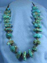 old vintage Native American Indian Turquoise & Silver Necklace - Antique Ethnographic Jewelry