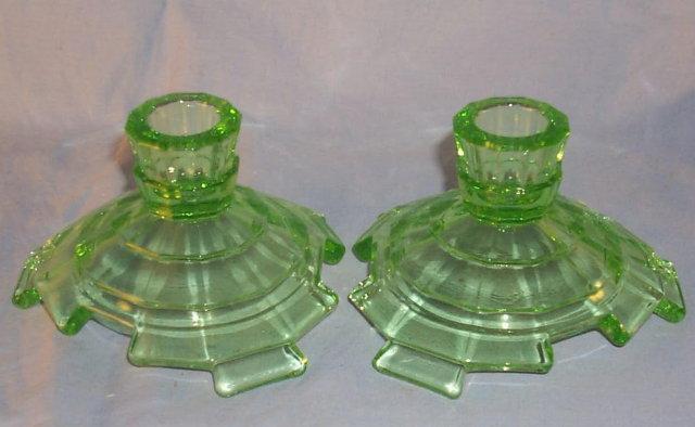 Green TEAROOM Depression Glass Candlestick Pair