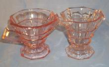Pink TEAROOM Depression Glass Creamer & Sugar