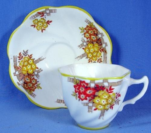 Pottery  Rosina Bone China FLUTED SWIRL Teacup and Saucer - Vintage English Porcelain Cup & Saucer