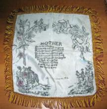 antique WWII Fringed MOTHER Pillow Cover - Vintage Poem Verse Love