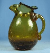 old Vintage Antique Hand Blown CRACKLE Glass Pitcher