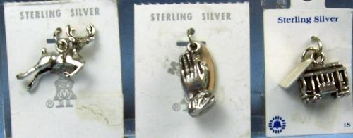 old Vintage Estate Sterling Silver CHARM Group Jewelry Lot