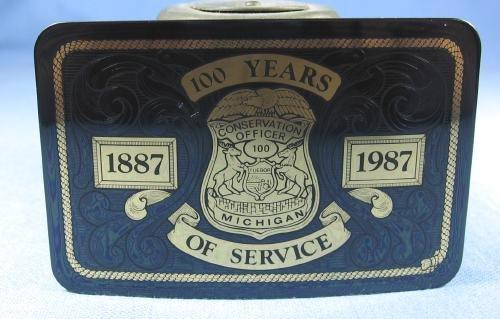 vintage 100th Anniversary  Michigan CONSERVATION OFFICER Belt Buckle - Vintage Law Enforcement Sporting