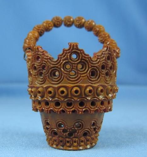 Carved Cinnabar Miniature Basket mini - Vintage Doll House Decoration