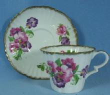 Royal Standard Pottery Ribbed PANSY Bone China Cup & Saucer - Antique Porcelain