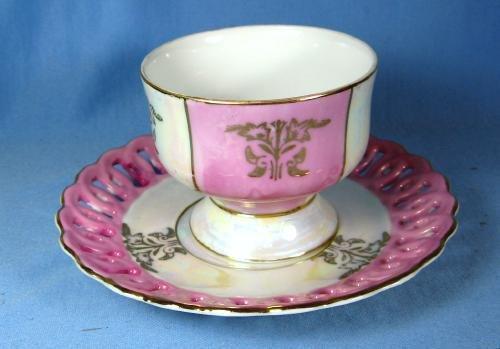 Porcelain  PINK LUSTRE luster Pierced Rim Cup & Saucer