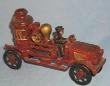 Cast Iron Red Toy Firetruck Older Repro