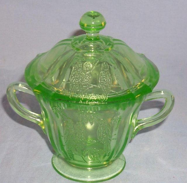 Green PARROT Depression Glass Sugar with Cover