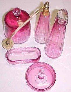 Cranberry Dresser Set - Glass