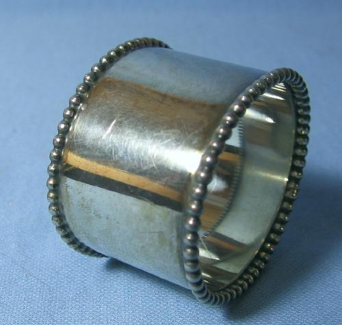 vintage Victorian Silver Napkin Ring - Fancy Beaded Edge