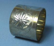 vintage Victorian Silver Napkin Ring - Fancy Tooled Etched