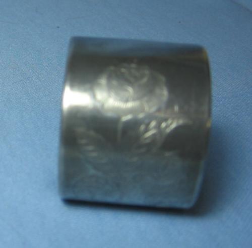 vintage Victorian Silver Napkin Ring - Fancy Rose DEsign