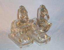 Crystal REARING HORSE Glass Bookends