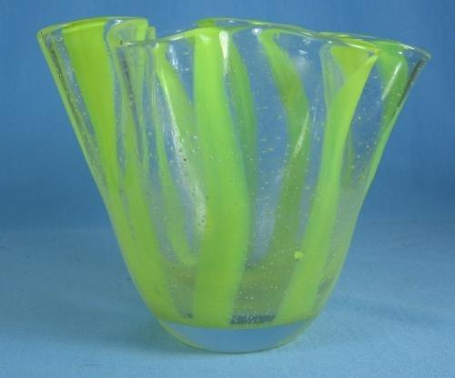 Murano Art Glass Vase - Antique Italian Handkerchief Vase