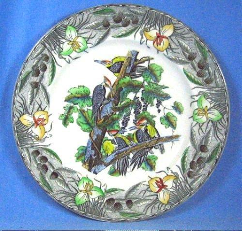 Limited edition  Birds of American PILEATED WOODPECKER - Hand Painted Porcelain Plate