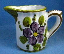 Folk Art Italian Cream Pitcher - Vintage Pottery