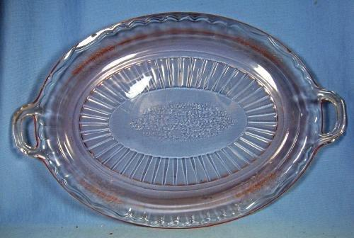 MAYFAIR Depression Glass Platter - OPEN ROSE